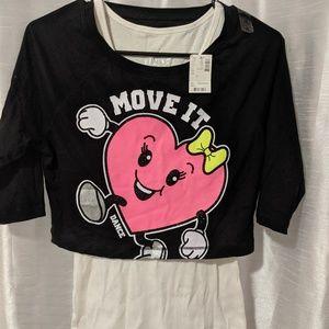 Justice crop shirt and tank